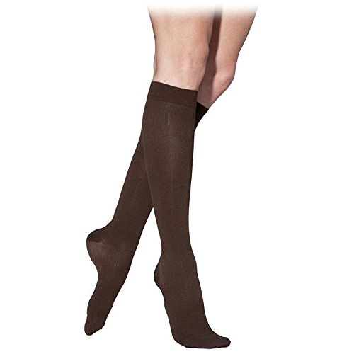 (Sigvaris 232 Cotton Men's Closed Toe Knee Highs 20 30 mmHg Long Black Mist ML Long 232CMLM14)
