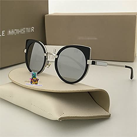 Fashion Vintage Unisex Cateye Frame New Gentle man Women Monster divinity Moooi Sunglasses - silver leg silver