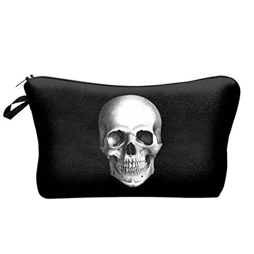 Black Bag skull Cosmetic Cases 3D Fashion pattern Lady Travel Handbag Makeup (Skull Makeup Kit)