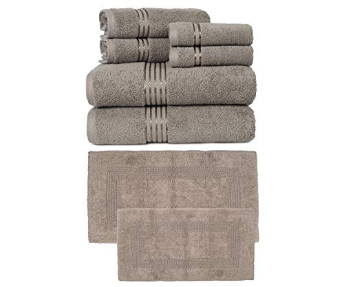 Somerset Home 100% Cotton Hotel|6-Piece Towel Set| Taupe| Bundle 100% Cotton| 2-Piece Reversible Rug Set| Taupe|