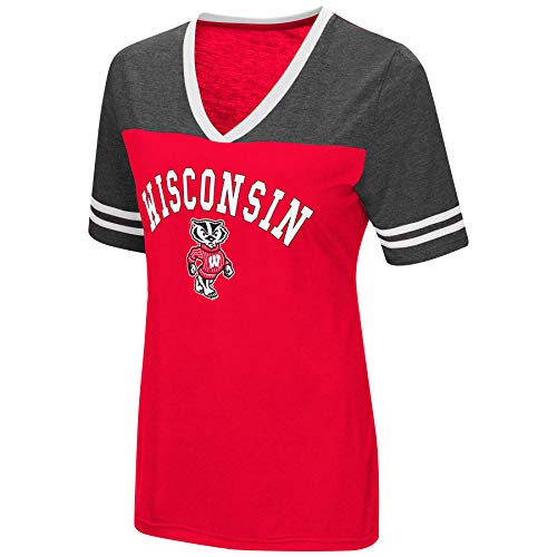Colosseum Women's NCAA Varsity Jersey V-Neck T-Shirt-Wisconsin Badgers-Cardinal-XL
