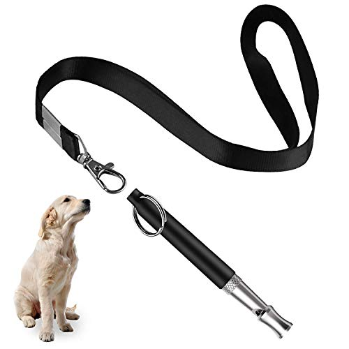 Dog Whistle to Stop Barking - Barking Control Ultrasonic Patrol Sound Repellent Repeller - Adjustable Pitch in Black Color with Free Premium Quality Lanyard Strap - Train Your Dog