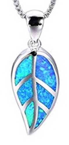 Anastasia 4 Light Pendant (Fortonatori Created Blue Opal Leaf Necklace 925 Silver Pendant Necklace 18