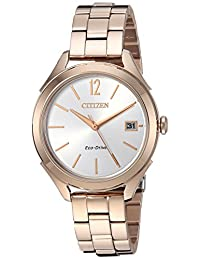 Citizen Women's 'Drive' Quartz Stainless Steel Casual Watch, Color:Rose Gold-Toned (Model: FE6143-56A)