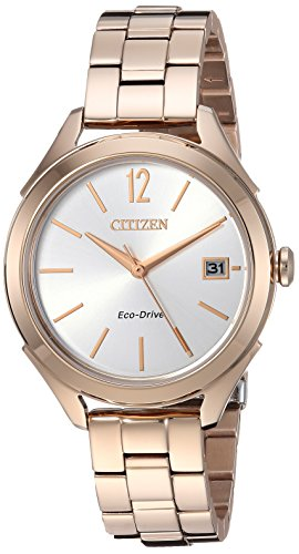 Citizen Women's 'Drive' Quartz Stainless Steel Casual Watch, Color:Rose Gold-Toned (Model: FE6143-56A) (Watch 56a Ladies)