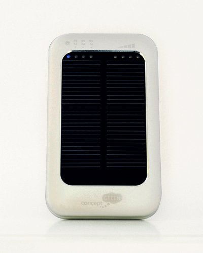 Concept Green Energy Solution CGSA3610-S 3600-mAh Portable Solar Assist Charger with LED Indicator, Silver