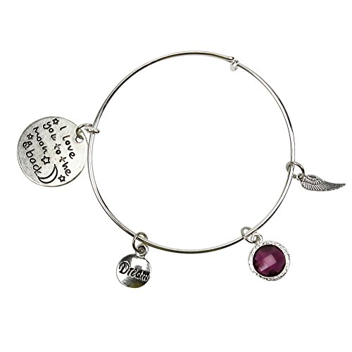 Misscat I Love You to the Moon and Back Expandable Wire Bangle Bracelet Adjustable
