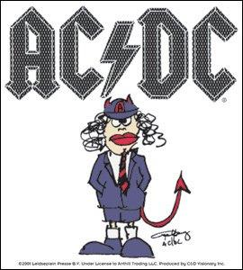 Licenses Products AC/DC Cartoon Angus Sticker (Guitar Logo Dc)