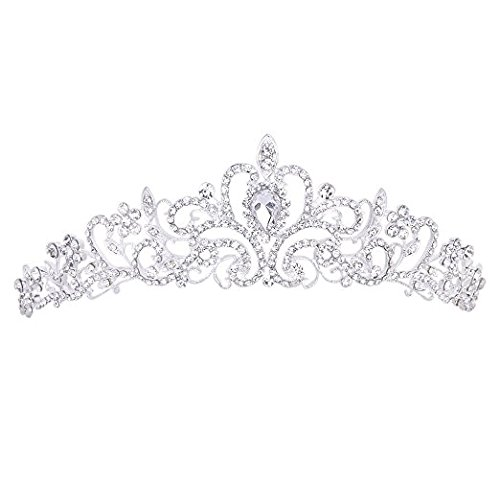 CJESLNA Wedding Prom Engagement Party Bridal Bridesmaid Flower Rhinestone Crown Tiara 11.42″