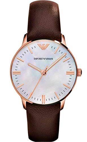 273144ef41dba Buy Armani AR1601 Mother of Pearl Dial Brown Leather Strap Watch for Women  Online at Low Prices in India - Amazon.in