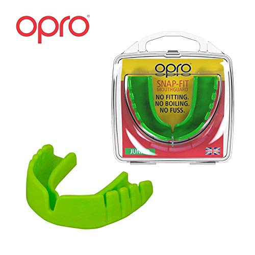 OPRO Mouthguard Snap-Fit Gum Shield Ball, Combat Stick Sports - No Boiling Fitting Required -18 Month Warranty (Adult Kids Sizes)- Youth, Green