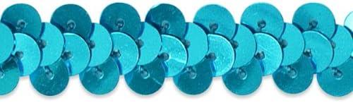 1-3//4-Inch Expo International 20-Yard of 5-Row Metallic Stretch Sequin Trim Teal
