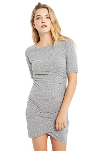 Poshsquare Women's Heathered Short Sleeves Jersey Knit Mock Wrap T Shirt Gathered Dress USA Heather Grey M
