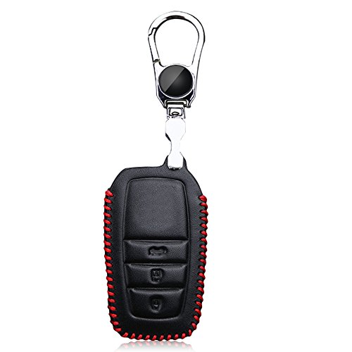 Leather Smart 3 Buttons Car Key Case Holder Stainless Steel Cover for Toyota (Red) from Bestowal