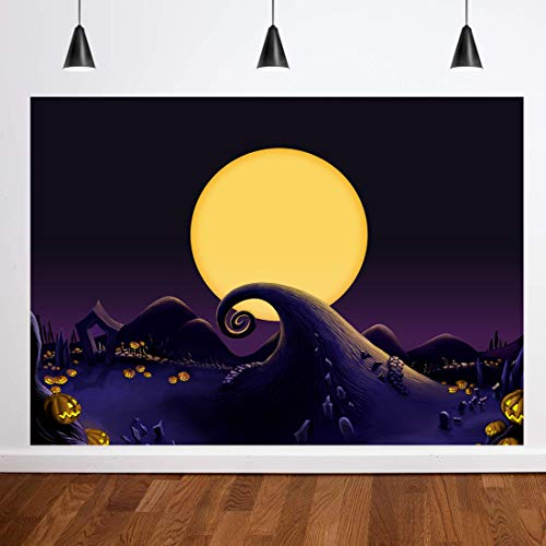 Dark Christmas Halloween Horror Nights (Dudaacvt 7x5FT Halloween Pumpkin Lantern Background Nightmare Before Christmas Backdrop Horror Dark Night Child Kid Halloween Decoration Photography)