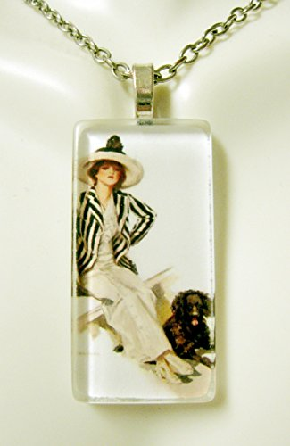 (American beauty with brown dog glass pendant - DGP02-414 - Harrison Fisher)
