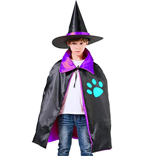 Kids Cloak Footprints Dog Wizard Witch Cap Hat Cape All Hallows'Day Costume Magician Halloween Party Boys DIY Prop -