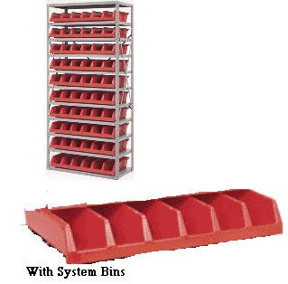 Akro Mils - Non Plastic, 18 In Deep Shelving With Akro System Bins, Akro-Sbs-18G, Shelving W X D X H: 36 X 18 X 78, Bin Desc: (10) 33 X 18 Sys Bins - Green, As1879318G