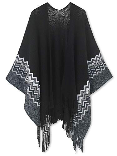 Women Poncho Shawl Cardigan Open Front Elegant Cape Wrap - Lurex Metallic Thread