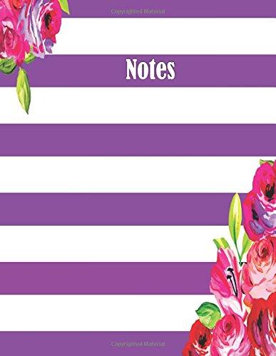 Download Notes: Purple Stripe Floral (Bullet Grid Journal) (8.5 x 11 Large Notebook) ebook
