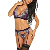 Garter Lingerie for Women,Sexy Push Up Lace Bra Set and G-String Corset with Belt 3 Piece Teddy Bustier Set Tigivemen Purple