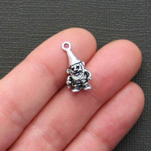 5 Garden Gnome Charms Antique Silver Tone 3D - SC2201 DIY Jewelry Making Supply for Charm Pendant Bracelet by Charm Crazy