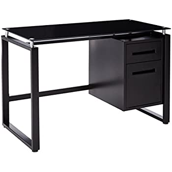 office computer tables. merax home office computer desk table workstation with metal cabinet and glass top (black) tables