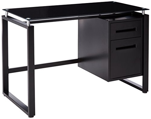 (Merax Home Office Computer Desk Table Workstation with Metal Cabinet and Glass Top (Black))