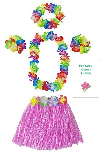 (Kids Grass Hula Skirt for Luau 5 Piece Set with Flower lei Necklace Bracelets Headpiece + Fun Games (Pink))