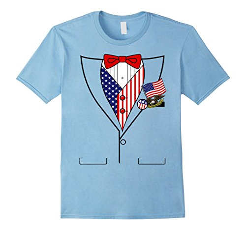 Mens American Flag Patriotic Pins Tux Costume Graphic T-Shirt 3XL Baby (Baby Blue Tux)