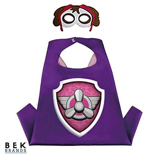 Kids Dress Up Cape and Mask Costume for Superhero Party Favors, Halloween, and More (Skye with Purple Emblem) ()
