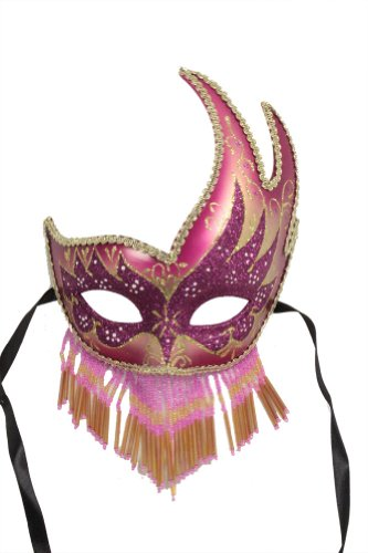 RedSkyTrader Womens Sparkling Beaded Party Mask One Size Fits Most Pink and Gold -