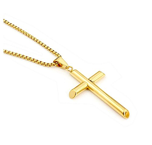 Hollywood Jewelry 24K Gold Chain Cross Pendant Necklace for Men, Women w/real strong Solid Clasp Miami Cuban Link style (16)