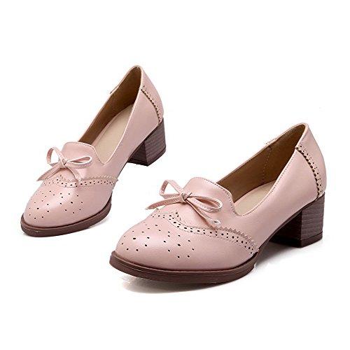 Amoonyfashion Dames Pu Kitten Hakken Rond Gesloten Teen Solide Trekken Aan Pumps-schoenen, Roze, 35