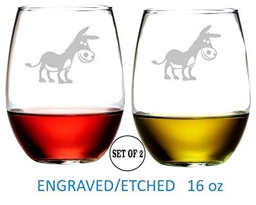 Donkey Stemless Wine Glasses Etched Engraved Perfect Fun Handmade Gifts for Everyone Set of 2