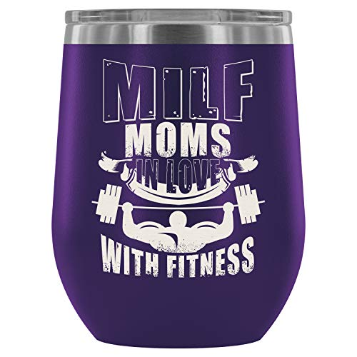 Steel Stemless Wine Glass Tumbler, Fitness Squat Wine Tumbler, Milf Moms In Love With Fitness Vacuum Insulated Wine Tumbler (Wine Tumbler 12Oz - -