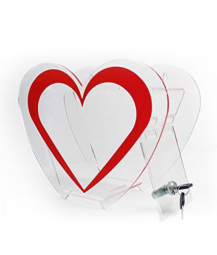 SourceOne Deluxe Small & Large Heart Shaped Acrylic Donation Box Tip Comment Box (Large) by SOURCEONE.ORG