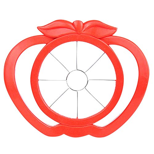 Fan-Ling 1pcs Fruit Slicer,Apple Pear Slicer Cutter,Kitchen Fruit Divider Tool with Comfort Handle,Peeler,Kitchen Utensils Gadgets,17cm x 14cm x 1cm (Red)