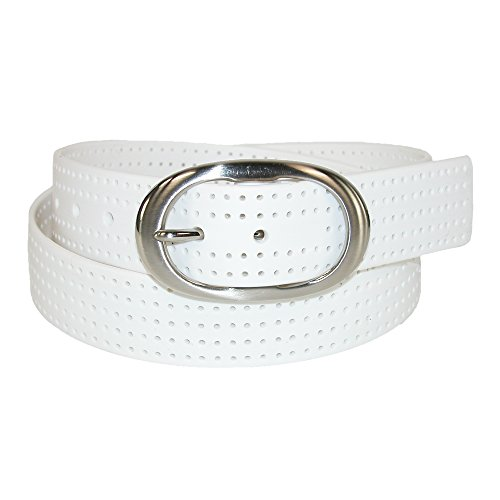 PGA Women's Silicone Perforated Golf Belt with Center Bar Buckle, Small, White