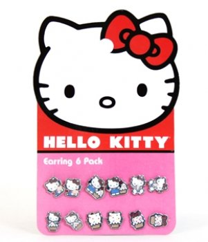 Earring Pack - Hello Kitty - New Sanrio Cupcake Set-6 Toys Gifts (Hello Kitty Cupcake Rings)
