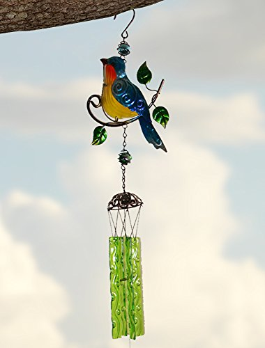 Bluejay Bird Wind Chime - Mother's Day Gift for Mom Bird Suncatcher - Mother's Day Gifts - Gifts for Mom - Gifts for Her - Mother's Day Gift Ideas - Mother's Day Gift From Daughter - Birthday Gift for Grandma - Stained Glass Retro Style Antiqued Hammered Metal - 34 Inch High