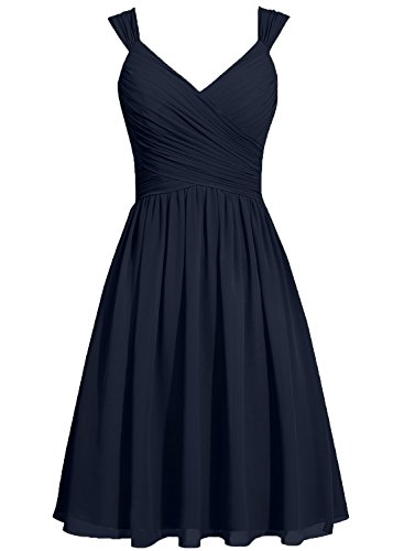 Sash Sort Gowns Bridesmaid Straps Party Navy Dresses Bow Dark Prom Cdress Chiffon qEIf7