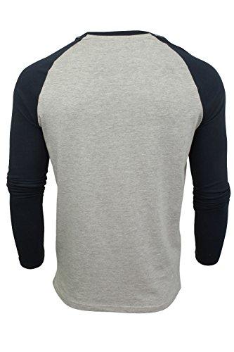 Mens Maniche lunghe T-shirt da un'anima coraggiosa (Grigio / Navy) L