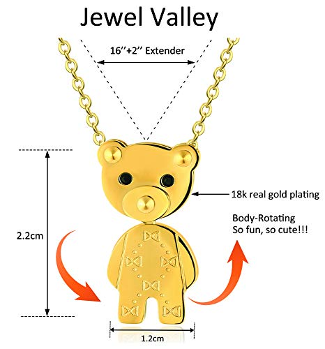 Jewel Valley 18k Gold Plated Teddy Bear Pendant Necklaces for Women with Limb-Rotating Design Cute Animal Jewelry Gifts with 16\'\' and a 2\'\' Extension Chain (Bear Necklace)