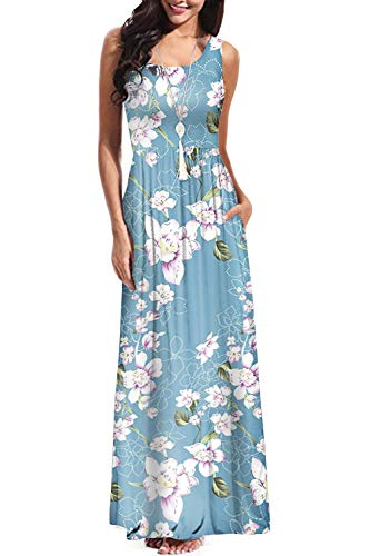 Women's Sleeveless Floral Racerback Loose Swing Casual Tunic Beach Long Maxi Dresses with Pockets