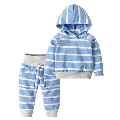 Derouetkia Toddler Infant Baby Boys Girls Stripe Long Sleeve Hoodie Tops Sweatsuit Pants Outfit Set (80(9-12 Months), Blue Stripe) - Blue Infant Sweatshirt
