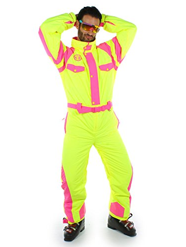 d8541e0484 Tipsy Elves Powder Blaster Ski Suit - Neon Yellow and Pink Retro Ski Suit   Medium  Amazon.ca  Sports   Outdoors