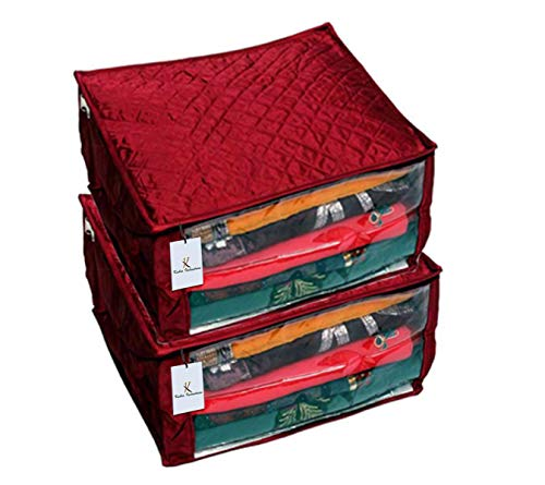 Kuber Industries™ Heavy Quilted Maroon Large Saree Cover Set of 2 Pcs  with Capacity of Upto 15 Sarees