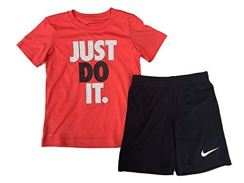 Nike Just Do It Little Boys Two Piece Tee Shirt and Shorts Set Orange/Black Size 7