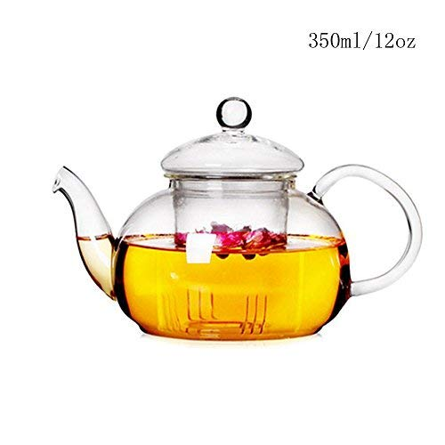 Lautechco Clear Glass Teapot Kettle with Infuser for Loose Tea Glass Tea Pots Heat Resistant Glass Tea Pot Strainer 12Oz Borosilicate Glassteapot